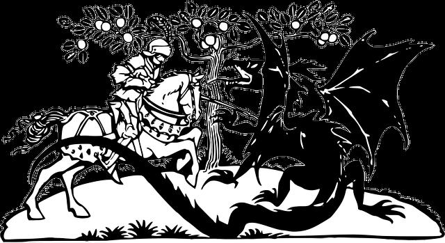 …come un cavaliere di fronte al suo drago!